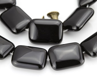 Black Onyx Smooth Rectangle Gemstone Beads,15 Inches Strand,12x16mm,13x18mm,15x20mm