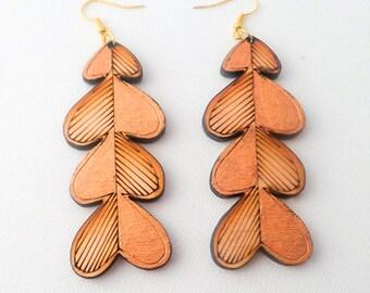 Beautiful Handmade Gold & Wood Heart Etch Design Teardrop Earrings
