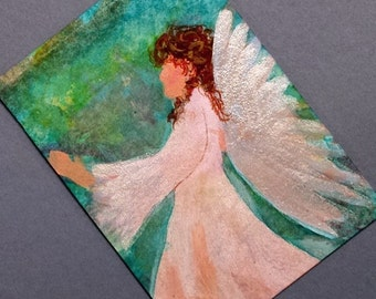 ACEO original painting Mini Painting Art Angels Series 2 Personality Pose Limited Edition 5 of 5 Christian Art cast artbyevelynmarie