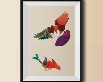 Bird Print - Poster -  Wall Art Decor - Illustration - Digital Collage - Home Decor - Nature - Organic