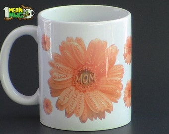 Mother's Day Gerbera Daisies Coffee Mug- Yellow Gerbera Daisy Mothers Day Gift- 11 oz  Mug Mothers Day Gift with Gerbera Daisy