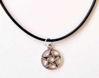 Pentagram charm cord choker necklace