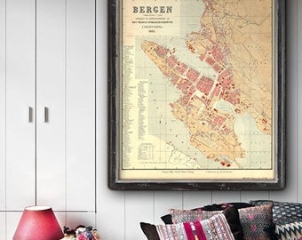 "Map of Bergen 1885, Vintage Bergen map, 4 sizes up to 36x43"" (90x110 cm) old map of Bergen, Norway, also in blue - Limited Edition of 100"