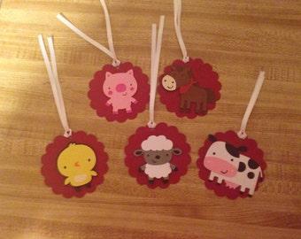 Set of 12 Farm Animal Gift Tags