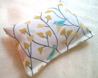 Organic Cotton Catnip Pillow - GOTS certified Organic Cotton - Birds and Leaves