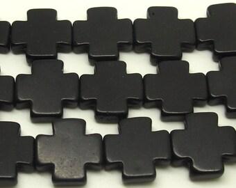 15x15  Black  Cross  Beads   Magnesite  Crosses, Howlite Crosses  26pc