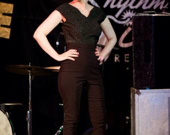 SALE - Small - Black Vintage Inspired High Waist Capri Pants