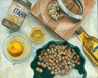"Original oil painting. 14""x11"" Oil. Food Art. Food Painting Hummus. Oil painting. Kitchen Art. Wedding Gift. Anniversary Gift. Painting."