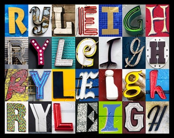 Personalized Poster featuring RYLEIGH showcased in photos of letters from signs; Typography print; Wall decor; Custom wall art; Name poster