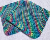 Set of 2 Cotton Hand Knitted Dishcloths Multi Color