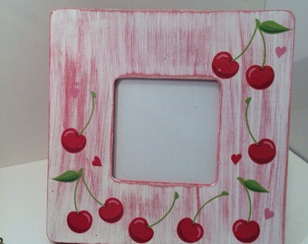 Cherrys on top picture frame- ice cream sunday- cherry decor- red and white - picture frame