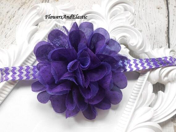 Purple with polka dot Frayed Lace,Chiffon flower Baby Headband, Newborn Headband,  Infant Headband, Headband Baby, Baby Headband