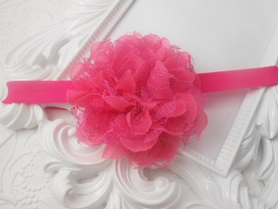 Hot Pink Chiffon Lace Flower Baby Headband, Newborn Headband,  Infant Headband,Baby Headband, Headband Baby, Baby Headband