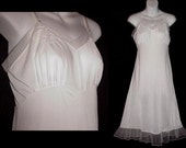 Vintage Petticoat Full Slip White Nylon Sheer Chiffon Flounce Hemline Appliques Pin Up Slip Dress Extra Fancy Size 34 S/Small to M/Medium