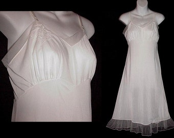 Vintage Petticoat Full Slip White Nylon Sheer Chiffon Flounce Hemline Appliques Pin Up Slip Dress Extra Fancy Size 34 S/Small to M/Medium