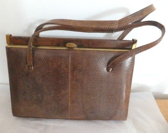 VINTAGE Ladies Leather Handbag  1950's  Brown Snakeskin with interior mirror still included double handle Suede lining