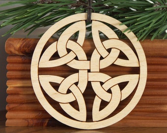 Wood Celtic Knot ornament woodcut hanging decoration