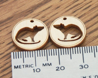 Rat Silhouette 10 pairs wood supply for jewelry tag crafting, rat charm