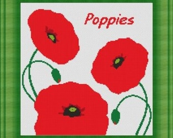 POPPIES/ coquelicots  -Counted cross stitch pattern /grille point de croix ,Cross Stitch PDF, Instant download , free shipping
