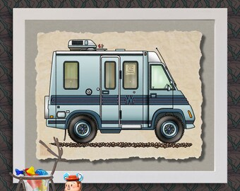 Lesharo RV happy camper art print Cute whimsical travel trailer and camper prints add fun to trailer or RV as 8x10 & 13x19 wall decor