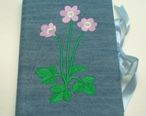 Fabric Covered Notebook, in Denim, Embroidered with Purple Flower Design, Complete with A5 (Large) Notebook.