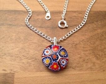 Red, White & Blue Glass Flower Pendant Necklace. Silver with Multi-Coloured Murano Millefiori Glass Pendant