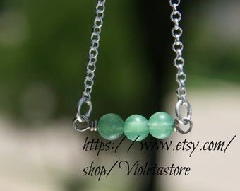 Green Aventurine 6mm and sterling silver Necklace