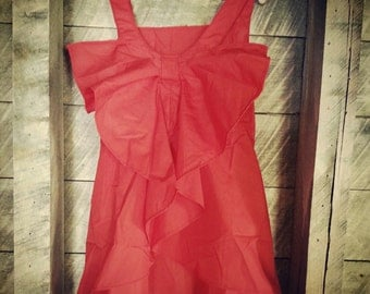 Little girls red dress with bow back