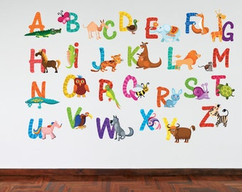 Full Colour Animal Alphabet Kids Wall Decal  Bedroom Educational Playroom Nursery Wall Sticker