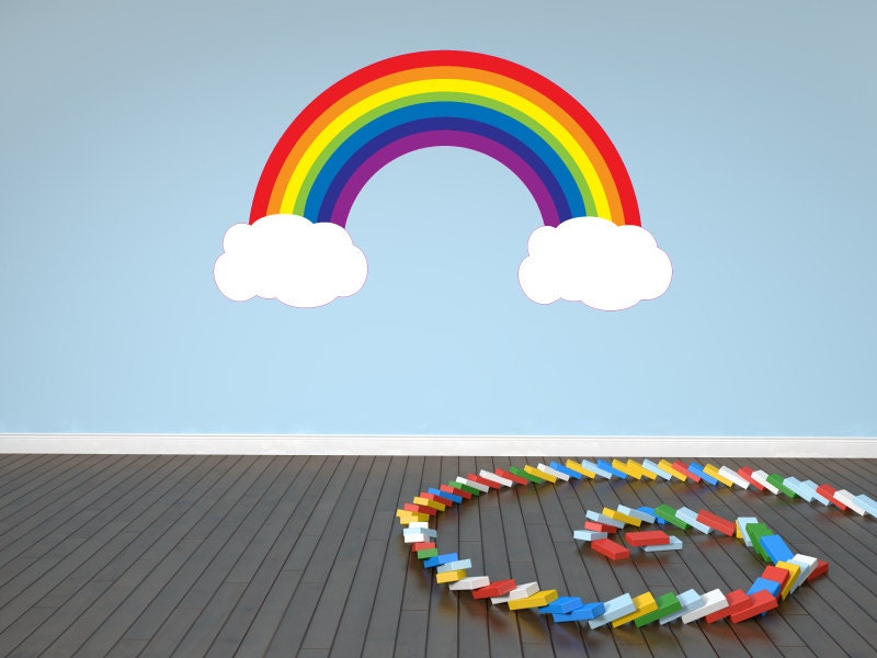 rainbow and clouds decal wall sticker nursery baby room kids