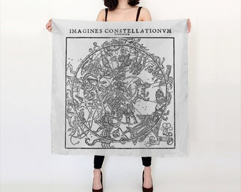Constellation Map Scarf - Zodiac Chart - Astrology - Silk Scarf