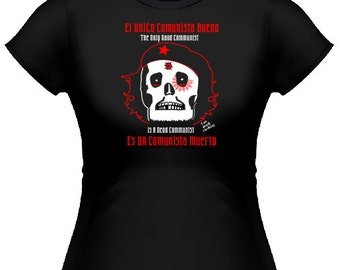 Last Stand Clothing Women's Patriotic Anti Communist Right Wing Dead Che Guevara Black Tee Shirt