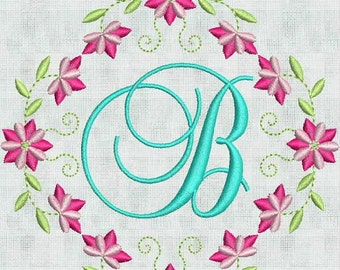 Instant Download Embroidery Machine Designs Script Fancy Monogram Alphabet Floral Flower Frame 4 X 4  Pes Format