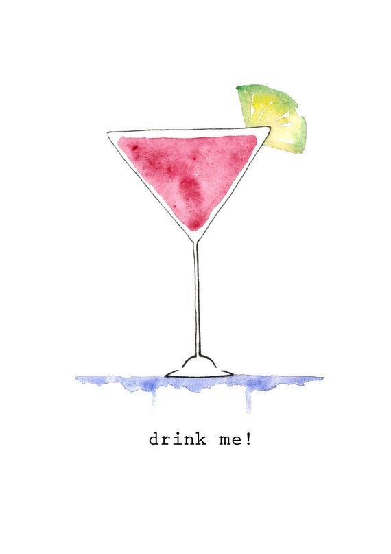 Items Similar To Cocktail Drink Me Watercolor