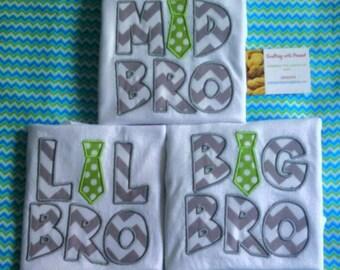 big bro, lil bro, mid bro shirt set, brother shirts, brother shirt set, new baby, new brother