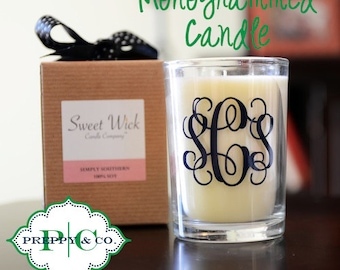 Monogrammed Candle - Customize with Vinyl - Monogram Gift