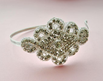 Rhinestone Headband, Bridal Headband, Wedding Headpiece, Fascinator, Ribbon Bridal Headband,wedding prom bridesmaid flower girl headband