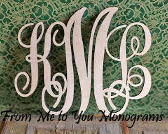 "32"" x 35"" Large Interlocking Script Wood Wall Monogram"