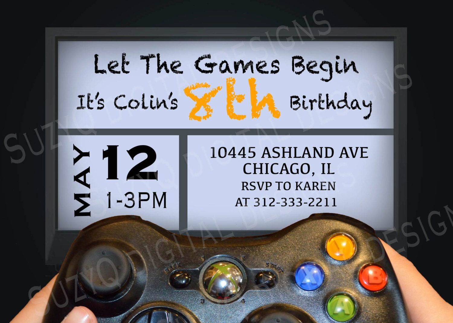 A Video Game Birthday Party Invitation Xbox By