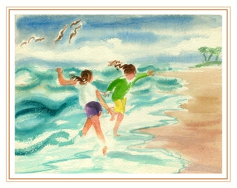 Wave Romp - Fine Art Giclee Print of Original Watercolor Painting