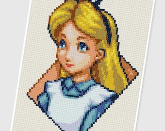 PDF Cross Stitch pattern - 0233.Alice ( Alice in Wonderland ) - INSTANT DOWNLOAD