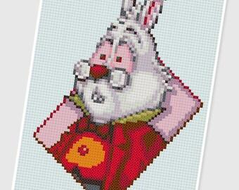 PDF Cross Stitch pattern - 0258.White Rabbit ( Alice in Wonderland ) - INSTANT DOWNLOAD