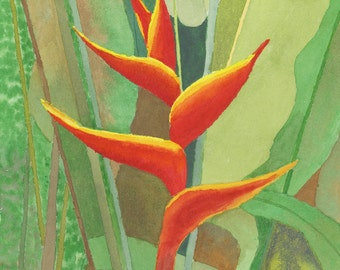 "Heliconia bloom, Original Watercolor, 11"" X 14"" vertical"