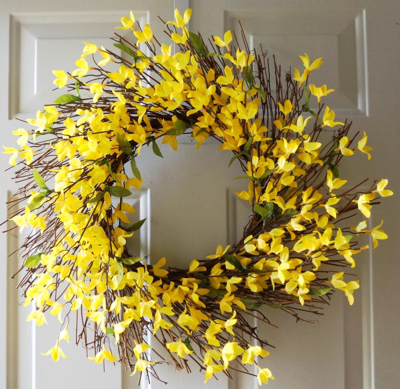 Wreath Summer Wreath Yellow Wreath Yellow Forsythia Rustic