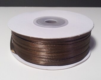 "1/8"" and 1/16"" Brown Double Face Satin Ribbon - 100 Yards"