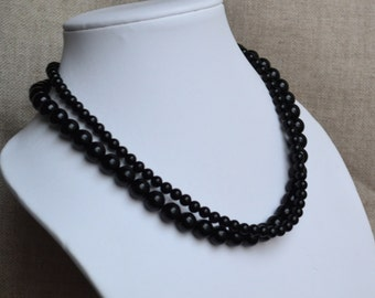 black pearl necklace, two strands pearl necklaces, wedding necklace, bridesmaids necklace, glass pearls necklaces, black necklace, necklace