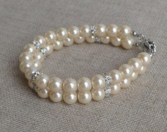 champagne pearl bracelet,2 row bracelet,8mm pearl bracelet,bridesmaids bracelet,glass pearls bracelet ,champagne bracelet,crystal bracelet