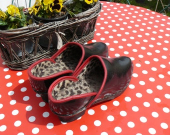 old leather soled wooden shoes