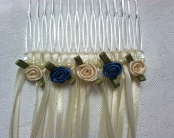 Elegant hair comb with 5 miniature roses, a strand of pearls and the 1/8 ribbon color of your choice.