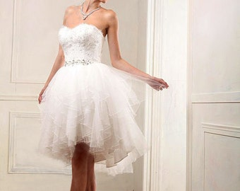 Short tulle lace wedding dress